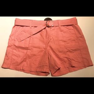 Coral shorts with belt